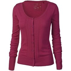 Fat Face Barli Pointelle Front Cardi, Raspberry