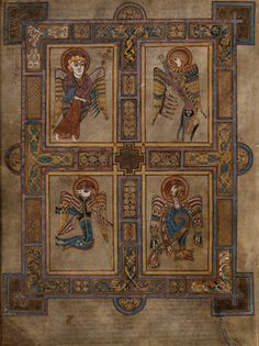 THE BOOK OF KELLS  | The Four Evangelists, Book of Kells folio 27v.: Matthew, the Angel, Mark, the Lion, Luke, the Bull, and John, the Eagle.)