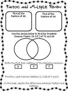lcm worksheets 6th grade pdf