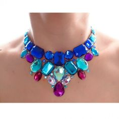 Blue and Purple Bib Necklace.  #necklaces #jewelry #colorful  9thelm.com