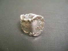 """c1900 size 8-3/4 handmade Spoon ring #281 Silverplate, Monogramed """"A.T."""""""
