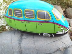 VW BUS painted rock, would be a great gnome mobile for my gnome garden in the making!