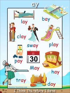 ay Words - ay word list - FREE Printable Poster - Great for Word Walls Phonics Chart, Phonics Flashcards, Phonics Blends, Phonics Words, Phonics Worksheets, Phonics Activities, Phonics Reading, Teaching Phonics, Preschool Learning