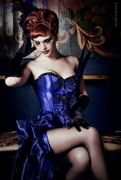 Victoria Frances in Bibian Blue corset Love the color! Steam Girl, Steam Punk, Steampunk Fashion, Gothic Fashion, Steampunk Makeup, Steampunk Costume, Fashion Vintage, Akira, Nylons