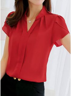 Cheap office blouse, Buy Quality blouses plus directly from China ladies formals Suppliers: 2018 Women Shirt Chiffon Blusas Femininas Tops Short Sleeve Elegant Ladies Formal Office Blouse Plus Size Chiffon Shirt clothing Office Blouse, Work Blouse, Tie Blouse, Lingerie Fine, Chiffon Shirt, Sleeveless Shirt, Plus Size Blouses, Short Sleeve Blouse, Short Sleeves