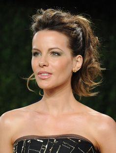A glamorous pony on Kate Beckinsale. Get more above-average ponytail ideas when you click!