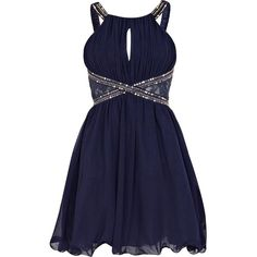 Navy Little Mistress embellished prom dress ($80) ❤ liked on Polyvore featuring dresses, vestidos, short dresses, robes, cocktail prom dress, navy prom dresses, short prom dresses, sexy cocktail dresses and prom dresses