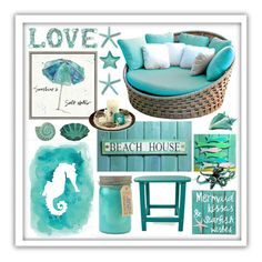 """Beach House"" by beanpod ❤ liked on Polyvore featuring interior, interiors, interior design, home, home decor, interior decorating, Green Leaf Art, Skyline, Paddywax and Polywood"