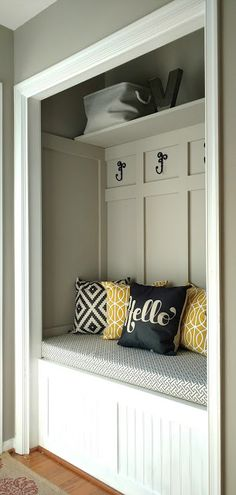 Splendid Turn a Closet into a mudroom for an updated look with more function. This also makes your home appear larger! How to fake a mudroom. The post Turn a Closet into a mudroom for an updat . Front Closet, Hallway Closet, Closet Mudroom, Closet Doors, Laundry Closet, Closet Bench, Entryway Stairs, Laundry Rooms, Small Laundry