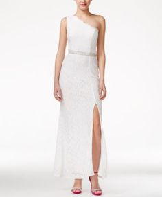 Speechless Juniors' One-Shoulder Glitter Lace Column Gown with Side Slit - Dresses - Juniors - Macy's