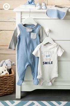 Keep him looking adorable each day with super-sweet, mix and match separates. Available in handsome blues, you'll find sleep 'n plays, bodysuits and more in stripes, patterns and solids that are soft and cozy.