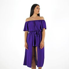 8948257194 PinkCad Purple Off The Shoulder Bardot Playsuit With Dress Overlay  www.pinkcadillac.co.uk