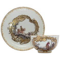 Meissen Tea Bowl and Saucer, Equestrian Scene, circa 1745 | From a unique collection of antique and modern porcelain at https://www.1stdibs.com/furniture/dining-entertaining/porcelain/