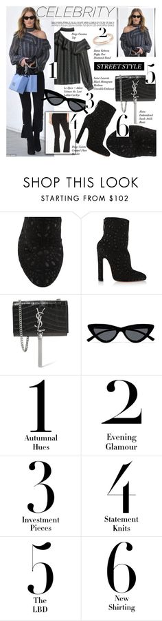 """GET THE LOOK: Rosie Huntington"" by merrygorounds ❤ liked on Polyvore featuring Cassina, Whiteley, Alaïa, Yves Saint Laurent, Le Specs, Dana Rebecca Designs, GetTheLook, statementjewelry, Fancypants and polyPresents"
