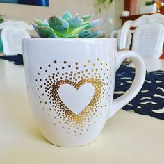 Paper Riot Co.    Quick DIY Gold Dots Succulent Mug Planter. So fun and easy - makes a great gift!