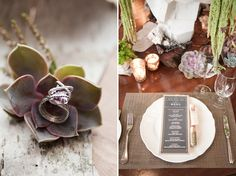 I love the color theme of this wedding inspiration - a combo of classic, simply elegant chalkboard & kraft paper via Wedding Blog NYC Rustic Modern Wedding Inspiration