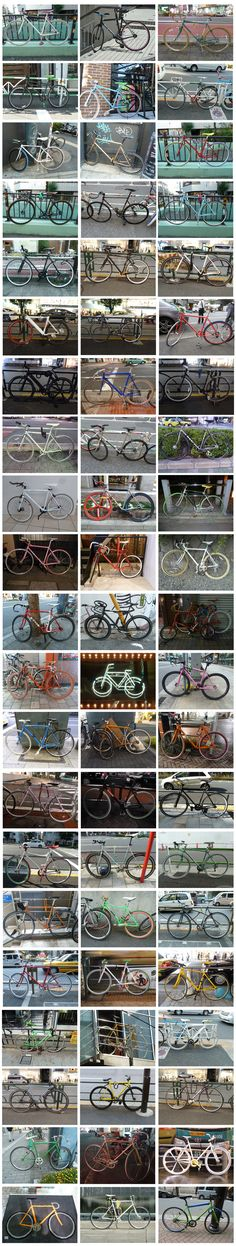Single Speed, Fixed Gear & Classic Race Bicycles found on the streets of Japan.