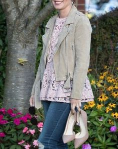 Blank NYC moto jacket; suede moto; women's style; fall fashion; pink lace peplum top by Halogen; Nordstrom