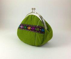 Green Hand woven cotton purseHand weaving cotton by keetaneran, $35.00