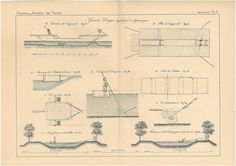 1872 Antique Technical Drawing Dredges Engineering by carambas