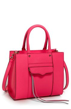 $195, Rebecca Minkoff Mab Mini Leather Tote Neon Pink. Sold by Nordstrom. Click for more info: https://lookastic.com/women/shop_items/43956/redirect