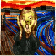 Edvard Munch's The Scream Perler Bead Pixel Pattern - Pixel Art Shop Hama Beads Design, Hama Beads Patterns, Beading Patterns, Cross Stitch Designs, Cross Stitch Patterns, Peler Beads, Pixel Pattern, Fuse Beads, Bead Art