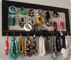 hanging jewelry organization with corsage pins at 320 Sycamore