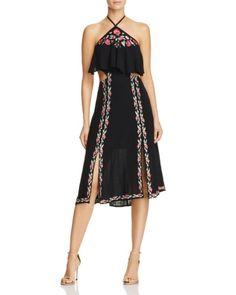 RahiCali Poppy Embroidered Halter Dress