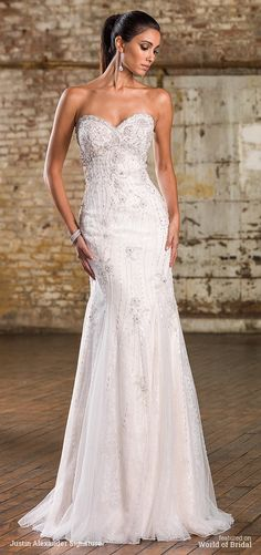 An alluring 1920's inspired gown showcasing all the beadwork a bride could want with allover crystals, moonstones, bugle beads, and sequins. This fit and flare gown has a sweetheart neckline, empire waist, and chapel length train.