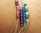 Sterling Silver & Gemstone Layering Bracelet - Apatite.  via Etsy, alexawebb shop.  So pretty