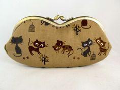 Cat Lover Gift - Soft Eyeglass Case - Eye Glass Case - Sunglasses Case - Cute Glasses Case - Sunglass Case - Glasses Case Kiss Lock by LuckyCatHandmade on Etsy