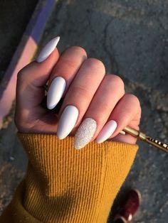 70 Fashionable Acrylic Almond Nail Designs For Girls To Try - Page 14 of 70 - Ch. 70 Fashionable Acrylic Almond Nail Designs For Girls To Try – Page 14 of 70 – Chic Hostess : Fa Classy Nails, Trendy Nails, Prom Nails, Fun Nails, Wedding Nails, Homecoming Nails, Wedding Makeup, Milky Nails, Nagel Hacks