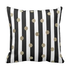 Black, White & Gold Dot & Stripe Throw Pillow.  See even more at the image