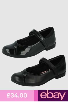 8afe319a608 Clarks Girls Black School Shoes  Movello Lo