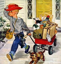 Illustration: reminds me of a little guy of mine who did just that, with his suitcase and wagon, ran away to Grandpa's house two blocks away, cause he was mad at me.  I watched him until he got to Grandpa's back door and was safe. ....Grandpa made him come back home.  So cute!!!
