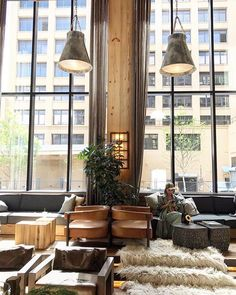 Our home is your home. Make yourself comfortable in our lobby at 1 Hotel Brooklyn Bridge. Hotel Lobby Design, Lounge Design, Restaurant Hotel, Interior Architecture, Interior Design, Hotel Interiors, Modern Coffee Tables, Lounge Areas, Hotels