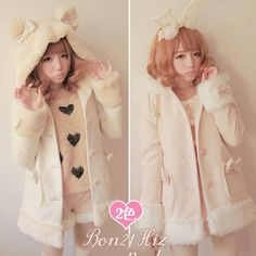 How to Discount 1 Original Price US $87.45 Princess sweet lolita coat Bobon21 bow plush bear fuzzy woolen overcoat outerwear winter ear hat with bow pink coat c0932 business using your childhood memories #Wool#Blends