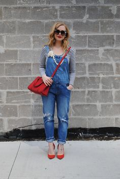 Casually Chic on a Thursday – Kirsten Wendlandt Jean Overalls, Dungarees, Denim Jeans, Mom Jeans, White Women, Suspenders, Jumpers, Pretty Outfits, Thursday