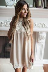 Beige Crochet Detail High Neck Dress