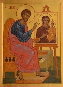 Luke the Apostle, painting the first icon of the Virgin Mary with Child Orthodox Catholic, Catholic Saints, Religious Pictures, Religious Icons, Ste Cecile, Luke The Evangelist, Russian Icons, Byzantine Icons, Art Thou