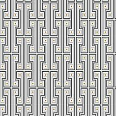 "Jonathan Adler Wallpaper - George Wallpaper. GEORGE Grey $300 ITEM #: 9780 SIZE: W 27"" L 45' REPEAT: 18"" vertical COLORS: Pantone PMS colors, Benjamin Moore Pewter 2121-30 and Grey 2121-10 on white"