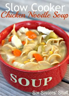 Slow Cooker Chicken Noodle Soup# slow cooker healthy recipes