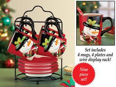 Add a pinch of holiday spirit to the heart of your home with this selection of festive and affordable Christmas kitchen decor from Collections Etc. Christmas Kitchen, Christmas Diy, Snowman Mugs, Hand Painted Mugs, Red Mug, Linens And More, Christmas Entertaining, Collections Etc, Holiday Tables