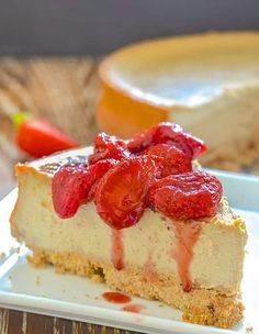 Vegan New York Cheesecake slice topped with roasted strawberries