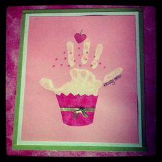 I love having these handprints and comparing them year after year. They get so big so fast! Daycare Crafts, Baby Crafts, Cute Crafts, Preschool Crafts, Crafts For Kids, Toddler Art, Toddler Crafts, Happy Birthday Crafts, Birthday Gifts