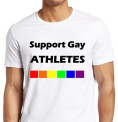 Support GAY Athletes  Fitted White Tee_Men by ALLGayTshirts, $19.95