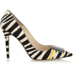 Jimmy Choo DIMPLE Black and White Zebra Print Pony with Yellow Stripe Pointy Toe Pumps ($475) found on Polyvore featuring shoes, pumps, heels, kengät, black and white striped shoes, yellow heels pumps, pointed toe high heel pumps, black and white shoes and black white pumps