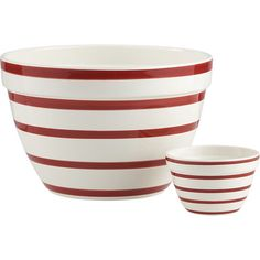 Graduated red stripes put a modern spin on the classic, all-purpose mixing bowl. Generous earthenware bowl coordinates with an individual serving bowl. High-fired earthenwareDishwasher- and microwave-safeNot oven- or freezer-safeMade in Portugal. Christmas Tabletop, Christmas Dishes, Christmas Kitchen, Christmas Decorations, Christmas 2015, Merry Christmas, Xmas, Crate Bench, Plastic Crates