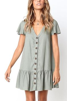Summer Casual White/Green Mini Dress Women Cotton SingleBreasted Button Ruffles Short Sleeve Dress Solid Red Loose Dress Size S Color Blue Dresses For Teens, Simple Dresses, Elegant Dresses, Sexy Dresses, Cute Dresses, Casual Dresses, Short Sleeve Dresses, Dresses For Work, Summer Dresses