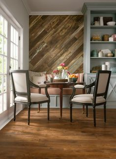 Wood Feature Accent Wall Ideas Using Flooring. Kitchen Breakfast Dining Room How To Create a Custom Look In Your Home. Wood Feature Accent Wall Ideas Using Flooring. Diy Design, Interior Design, Design Art, Design Ideas, Laminate Flooring On Walls, Wood Laminate, Flooring Ideas, Wood Walls, Wood Flooring